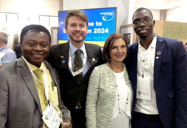 Dr. Daniel A Ofori (AFF), Dr. Fredrik Ingemarson (chef för sekretariatet 2024), Sveriges ambassadör Johanna Brismar Skoog samt IFSA:s president Amos.