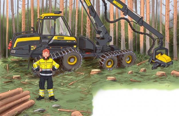 Bild från Halvan - Här kommer skogsmaskinerna.