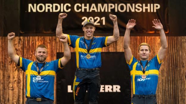 Pristagarna i STIHL TIMBERSPORTS Nordiska Mästerskapen 2021, från vänster till höger: Calle Svadling (2:a plats), Ferry Svan (1:a plats), Emil Hansson (3:e plats).