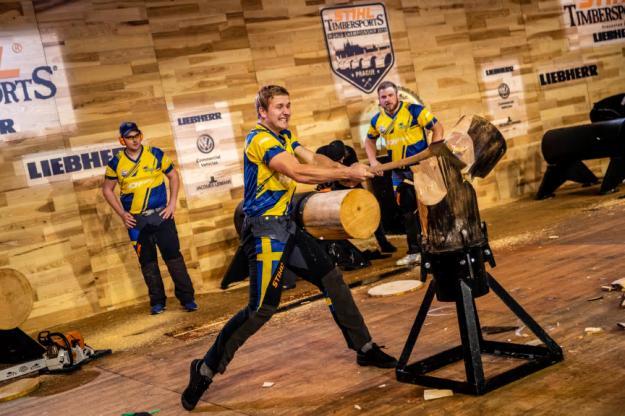 Det svenska landslaget i STIHL TIMBERSPORTSunder VM i Prag 2019.