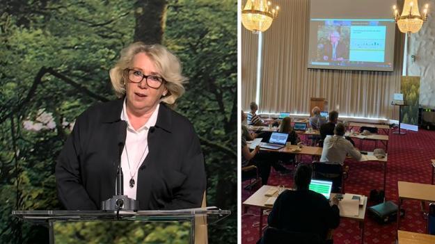 Lena Ek på Södras digitala stämma och sändning av stämman från Skövde.