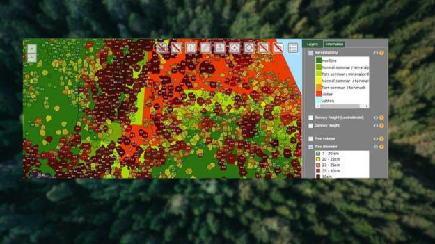 I analysresultaten kombineras olika datakällor och där igenom får man till exempel en detaljerad bild av beståndet och framkomligheten. Bilden visar även trädens position, diameter och höjd samt terrängduglighet och beståndssegmentering.