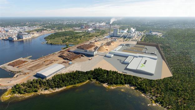 Visionsbild över det nya sågverket som ska byggas i finska Rauma.