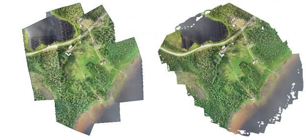 Jämförelse mellan sammanhängande bilder producerade med Rapid Drone Map (t.v.) och medtraditionell teknik (t.h.).
