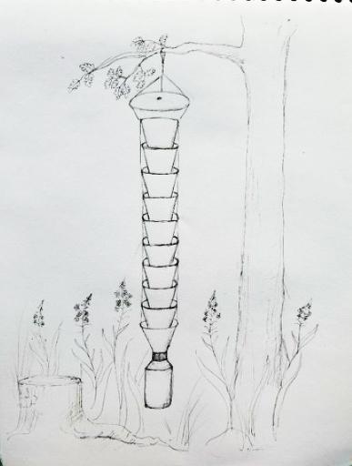 Barkborrefällan består av 12 trattar, som hängs upp i trädet. Längst ner finns en transparent fångbehållare.