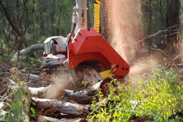 Log Max skördaraggregat kapar trädstammar.