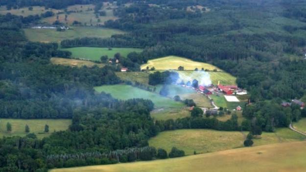 Bild från en brand i nordöstra Skåne 2019 som övervakades av Frivilliga flygkåren.