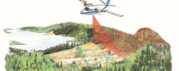 Laserskanning över skogsmark.