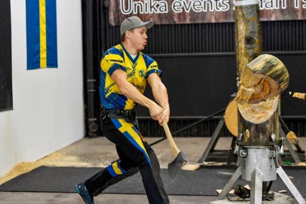 Ferry Svan som representerade Sverige i STIHL TIMBERSPORTS® Virtual European Championship 2020 knep fjärde plats.